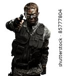 portrait of furious soldier... | Shutterstock . vector #85777804