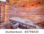 View of ancient amphitheater in Petra city, Jordan - stock photo