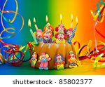 birthday cake with sugar clowns ... | Shutterstock . vector #85802377