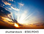 sunset with sun rays | Shutterstock . vector #85819045