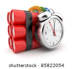 Bomb with clock timer 3D. Countdown. Icon on white background - stock photo