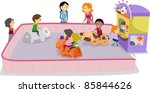 Illustration of Kids Playing Bump Ride - stock vector