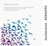 Stock vector vector background a silhouette of a birds flock 85846990
