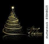 abstract golden christmas tree... | Shutterstock .eps vector #85848025