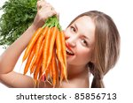 Attractive Woman Holds Bunch Of ...