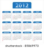 blue glossy calendar for 2012