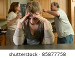 teen daughter struggles while... | Shutterstock . vector #85877758