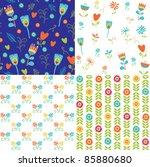 floral backgrounds | Shutterstock .eps vector #85880680