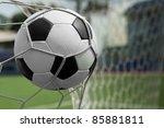 soccer ball in goal   Shutterstock . vector #85881811