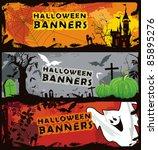 set three horizontal halloween... | Shutterstock .eps vector #85895276