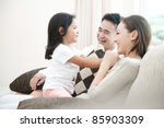 happy asian family playing with ... | Shutterstock . vector #85903309