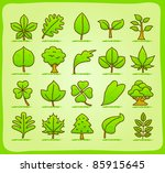 hand drawn leaf  tree eco icons | Shutterstock .eps vector #85915645