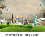european holidays   travelling... | Shutterstock . vector #85932484
