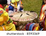 indians drumming at a pow wow | Shutterstock . vector #8593369