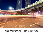 night scene of beijing international trade bridge,China - stock photo