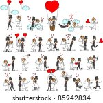 cartoon wedding pictures | Shutterstock .eps vector #85942834