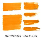 set of red paint drawn with... | Shutterstock . vector #85951375