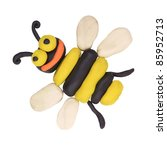 isolated child hand made bee on ...