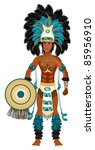 Raster version Illustration of an Aztec man in Costume for Carnival Halloween or Thanksgiving. - stock photo