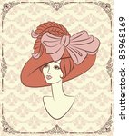vintage fashion girl in hat. | Shutterstock .eps vector #85968169