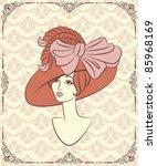 vintage fashion girl in hat. | Shutterstock .eps vector #85968169