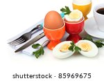 boiled eggs in bright stands... | Shutterstock . vector #85969675
