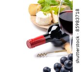 red wine with french cheese... | Shutterstock . vector #85983718