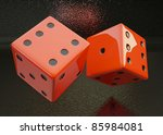 rolling dice on a black ... | Shutterstock . vector #85984081