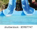 slide in the water park - stock photo
