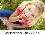portrait of happy girl with... | Shutterstock . vector #85994146
