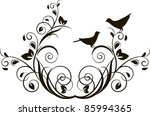 decorative branch with birds ... | Shutterstock .eps vector #85994365