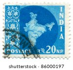 india   circa 1957  a stamp... | Shutterstock . vector #86000197