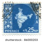india   circa 1957  a stamp... | Shutterstock . vector #86000203
