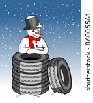 Snow Tires And Snowman