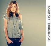 beautiful girl with headphones | Shutterstock . vector #86015908