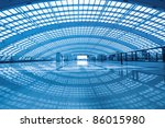 modern hall of airport express station at beijing terminal 3 - stock photo