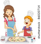 Illustration of a Woman and a Boy Making Homemade Pizza - stock vector