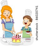 Illustration of a Woman and a Boy Decorating a Cake - stock vector
