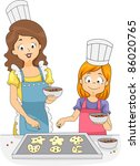 Illustration of a Woman and a Girl Adding Sprinkles to Cookies - stock vector