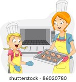 Illustration of a Kid Helping Out with the Baking - stock vector
