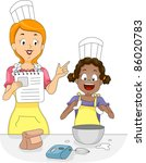 Illustration of a Kid Learning How to Mix Eggs - stock vector