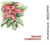 watercolor  poinsettia ... | Shutterstock . vector #86024944