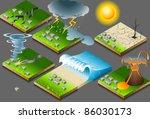 earthquake isometric nature... | Shutterstock .eps vector #86030173