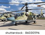 ZHUKOVSKY, RUSSIA - AUG 19: A Kamov Ka-52 multirole military helicopter is on display at the MAKS airshow on Aug 19, 2011 in Zhukovsky.The Kamov Ka-52 Alligator (NATO designation Hokum)is a two-seat version of the Ka-50 - stock photo