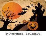 grunge halloween background | Shutterstock . vector #86030608