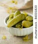 Fresh salted cucumber in bowl with dills, soft focus - stock photo