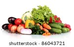fresh vegetables isolated on... | Shutterstock . vector #86043721
