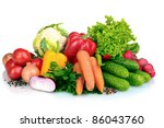fresh vegetables isolated on... | Shutterstock . vector #86043760