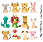 12 animal icon set chinese... | Shutterstock .eps vector #86056036