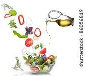 falling vegetables for salad... | Shutterstock . vector #86056819